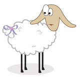 Isolated sheep with a bow on a tail