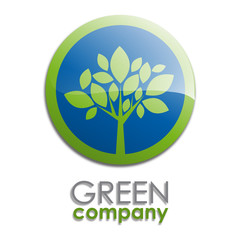 Logo green tree, forestry button # Vector