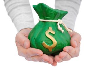 hand hold a money bag