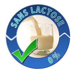 """Label bleu """"sans lactose"""""""