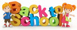 3D Render of Kids and Back to School Word