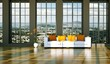 Wohndesign, Sofa vor großer Fensterfront