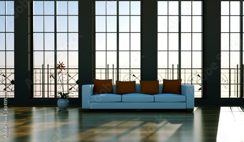 Wohndesign - Sofa vor Fensterfront