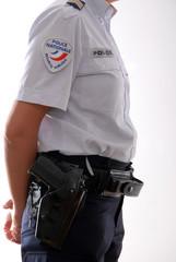policier garde statique arme