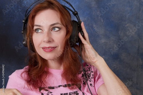 Redhead with Headphones