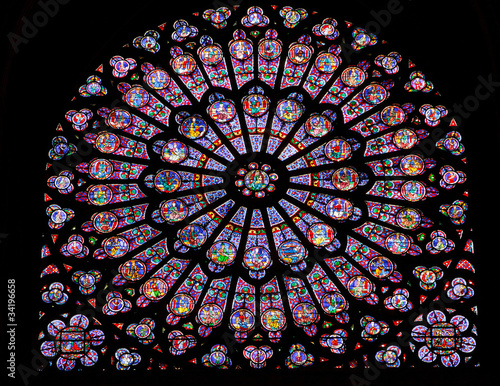 Leinwandbild Motiv Stained glass window in Notre dame
