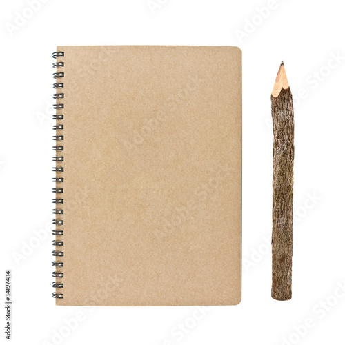 blank notebook and bark pencil