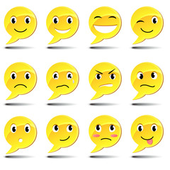 A set of smiles. Text bubbles with emotions.