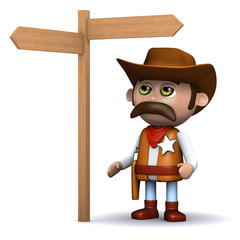 3d Sheriff checks the signpost