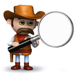 3d Sheriff looks for clues with his magnifying glass