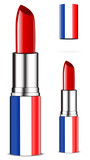 abstract France lipsticks isolated on white background