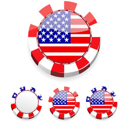 set of abstract america casino chips