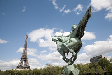 Paris - Eiffel tower and statue of Joan of Arc