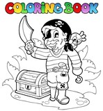 Coloring book with young pirate - 34200432