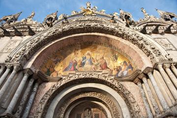 Mosaic art on facade of St Marks basilica, Italy, venice.