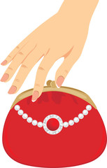 Stylish red female purse