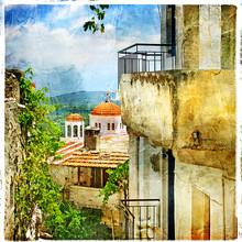 Greckie ulice i klasztorów-grafika w stylu malarstwa