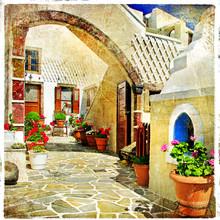Obrazkowych ulice Santorini