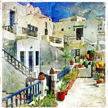 Straßen von Santorini - Kunstwerk im Malstil
