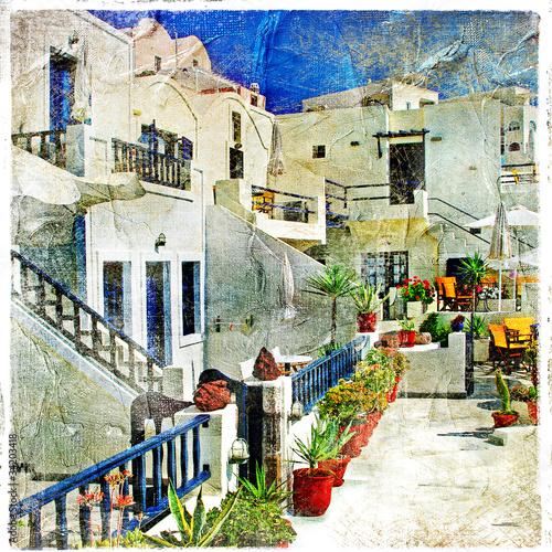 Fototapeta Ulice Santorini - malarstwo, grafika w stylu