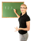Fototapety Young teacher writing numbers