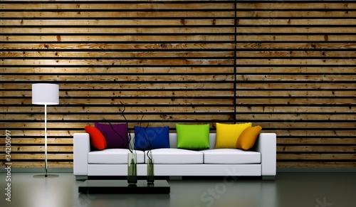 Wohndesign - weisses Sofa mit Kissen vor Holzwand