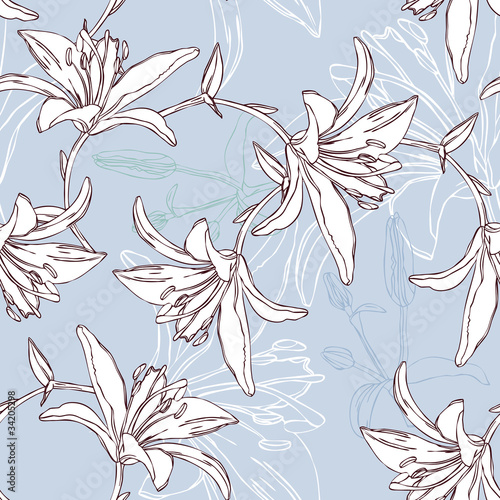 floral seamless pattern with lily