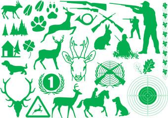 Jagd silhouette grün