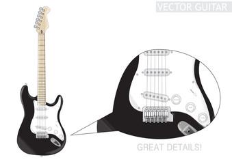 Chitarra nera - vettoriale