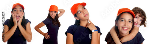 Beautiful Latin teen hispanic girl mixed gestures
