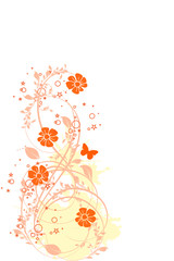 floral grunge orange