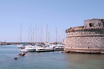 Gallipoli, Apulia - Angevin castle and boats