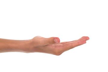 Hand aufhalten