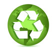 Recycling symbol over Earth globe Conceptual illustration