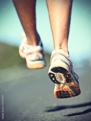Runnning shoes on runner