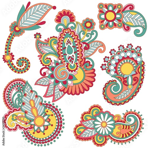 colored floral ornamental decoration design element.