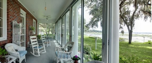 panorama of porch with view