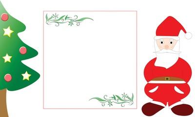 Cartolina natalizia con l'albero e Babbo Natale