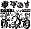 Set of elements in the style of primitive art