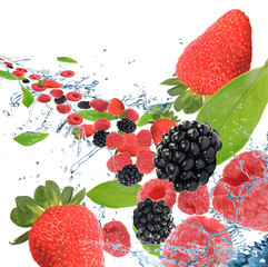 Fresh berries in motion
