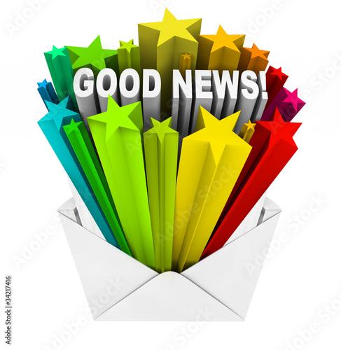 Good News Arrives in Open Envelope and Letter