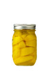 Jar of preserved peaches