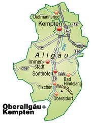 Landkreise Oberallgäu und Kempten Variante2