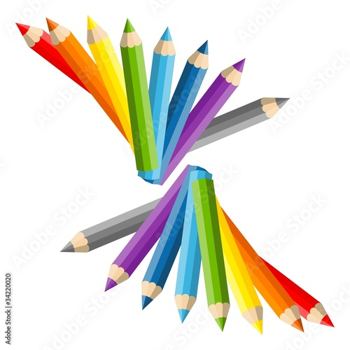 Fantail of vector color pencils