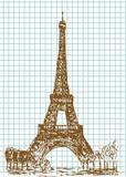 hand drawn eifel tower poster