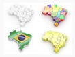 Map of Brazil. 3d