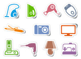 Set of stickers home appliances poster