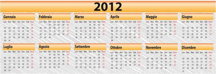 Calendario 2012 riquadri 2x6