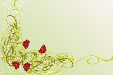 coin floral vert et étoiles
