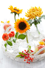 Sunflowers,rose,chrysanthemum and apples